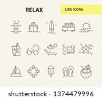 relax line icon set. coconut... | Shutterstock .eps vector #1374479996