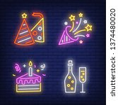 birthday party neon sign set.... | Shutterstock .eps vector #1374480020