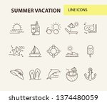 summer vacation line icon set.... | Shutterstock .eps vector #1374480059
