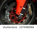 front motorcycle wheel fragment ... | Shutterstock . vector #1374480086