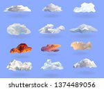clouds low polygon set isolated ... | Shutterstock .eps vector #1374489056