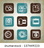 cinema icons over vintage... | Shutterstock .eps vector #137449223