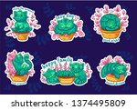 stickers with cute phrases. set ... | Shutterstock .eps vector #1374495809