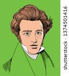 soren kierkegaard portrait in... | Shutterstock .eps vector #1374501416