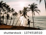 a couple in love meets a sunset ... | Shutterstock . vector #1374518510