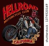 evil biker with chopper... | Shutterstock .eps vector #1374520169