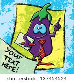 funny cartoon eggplant on the... | Shutterstock .eps vector #137454524