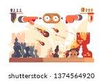 chess battle on plain board... | Shutterstock .eps vector #1374564920