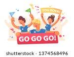 open air fans cheer for team... | Shutterstock .eps vector #1374568496