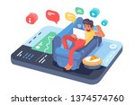 man lying on sofa with tablet...   Shutterstock .eps vector #1374574760