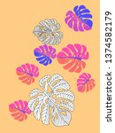 vector tropical pattern with... | Shutterstock .eps vector #1374582179