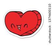 sticker of a cartoon love heart | Shutterstock . vector #1374600110
