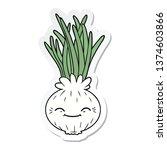 sticker of a cartoon onion | Shutterstock . vector #1374603866