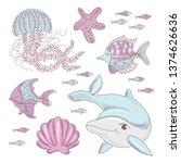 aqua world underwater sea ocean ... | Shutterstock .eps vector #1374626636