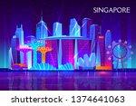 singapore city night skyline... | Shutterstock .eps vector #1374641063