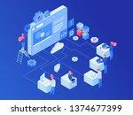 web hosting platform isometric... | Shutterstock .eps vector #1374677399