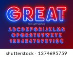neon light alphabet ... | Shutterstock .eps vector #1374695759