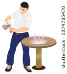 one man pour coffee to glass... | Shutterstock .eps vector #1374735470