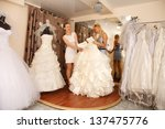 a bride to be shopping for a... | Shutterstock . vector #137475776