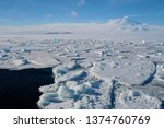Frozen Ross Sea  and Mt Erebus Scott Base Antarctica