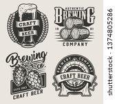 vintage monochrome craft beer... | Shutterstock .eps vector #1374805286