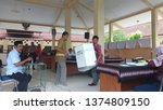 Small photo of Wates,Yogyakarta-April 20 2019: 2019 elections recapitulation or vote counting process at the sub-district level,Wates,Kulon Progo area. Pemilu 2019