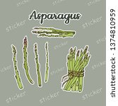 a bunch and sprigs of asparagus ...   Shutterstock .eps vector #1374810959