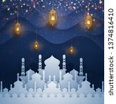 ramadan kareem background with...   Shutterstock .eps vector #1374816410