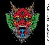 traditional devil tattoo design ... | Shutterstock .eps vector #1374823979
