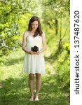portrait of beautiful brunette... | Shutterstock . vector #137487620