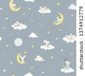 childish seamless pattern white ... | Shutterstock .eps vector #1374912779