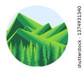 mountain green landscape forest ... | Shutterstock .eps vector #1374931340