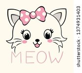 Stock vector vector hand drawn cute cat face that says meow vector illustration 1374931403