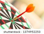 darts arrow hitting in the... | Shutterstock . vector #1374952253