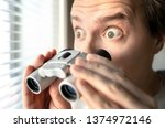 Surprised Man With Binoculars....