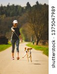 Stock photo girl walking with dog outdoors in nature on a road to forest sunny day countryside sunset 1375047989