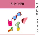 summer card with cactus ...   Shutterstock .eps vector #1375092419