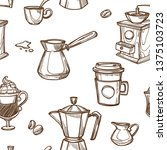 Stock vector coffee cups and beans sketch pattern background vector seamless coffee makers hot chocolate mugs 1375103723