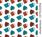 seamless crockery vector... | Shutterstock .eps vector #1375122356