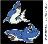 shark sticker and tattoo | Shutterstock .eps vector #1375177310