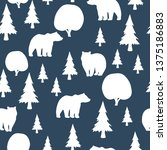 seamless pattern with bear in... | Shutterstock .eps vector #1375186883
