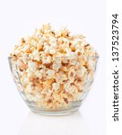 Bowl Of Popcorn  Isolated On A...