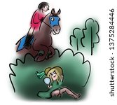 horse rider and forest fairy | Shutterstock . vector #1375284446