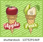 apple ice cream. pear ice cream.... | Shutterstock .eps vector #1375291469