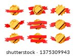 large set of bright gold retro... | Shutterstock . vector #1375309943