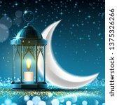 night moon or crescent behind... | Shutterstock . vector #1375326266