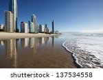 reflection of apartments in sea ... | Shutterstock . vector #137534558