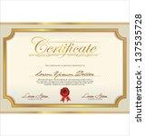 certificate template | Shutterstock .eps vector #137535728