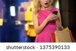 female shopaholic checking... | Shutterstock . vector #1375390133