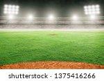 Baseball Field At Brightly Lit...